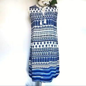 beach Lunch Lounge // Blue, White Tie Dye Dress M